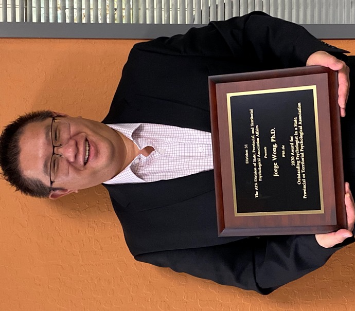 Jorge Wong, who was honored with 2020 Outstanding Psychologist Award by Palo Alto University in Palo Alto, CA
