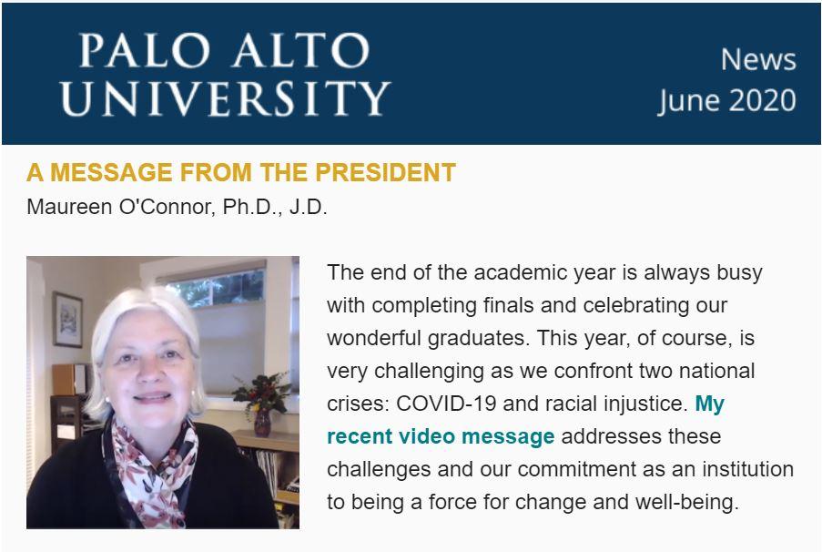 Palo Alto University June 2020 Newsletter