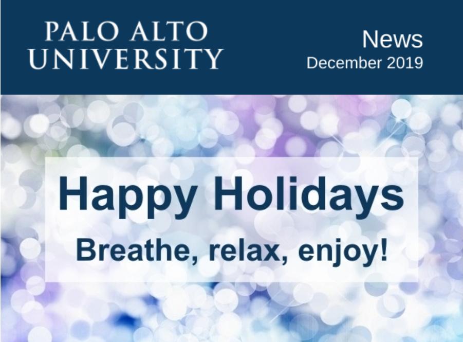 Palo Alto University December 2019 Newsletter