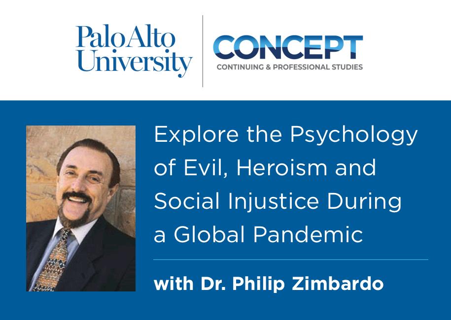 Graphic for webinar with Palo Alto University professor Dr. Philip Zimbardo in Palo Alto, CA