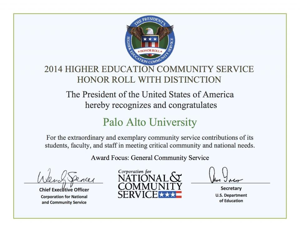 President's Higher Education Community Service Honor Roll 2014 Palo Alto University