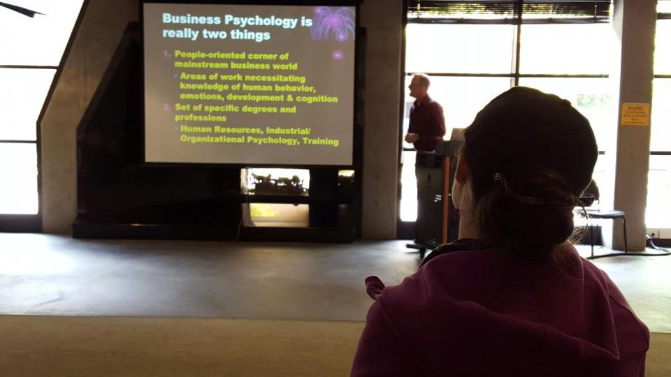 Professor Mark Healy Lectures Students on Psychology Careers