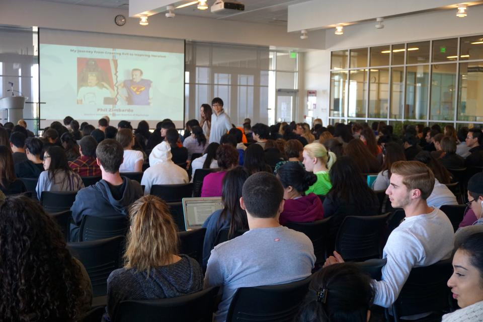 Crowded Room of Students at Philip Zimbardo Lecture at College of San Mateo for Palo Alto University