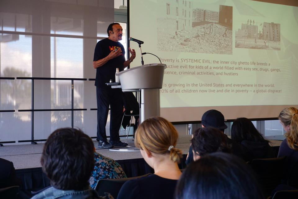 Professor Philip Zimbardo Lectures for Large Group of PAU Bachelor Students at College of San Mateo