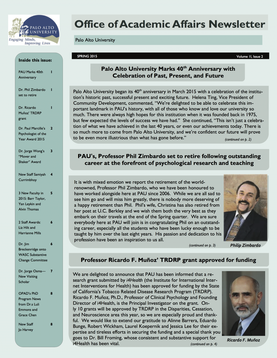OAA Newsletter Spring 2015 Page 1