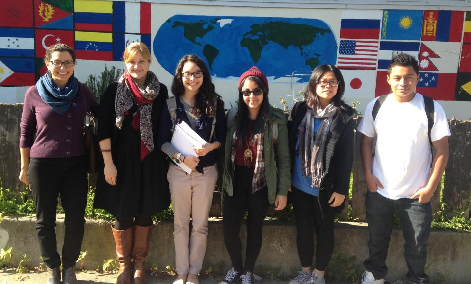 ?PAU Professor Sita Patel with school principal Julie Kessler, PAU student Maggie del Cid, and high school students at San Franc