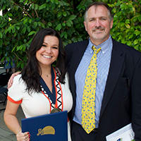 Susan Lauer, PAU Class of 2012, with Dr. Paul Marcille, Director of Bachelor's Programs at Palo Alto University