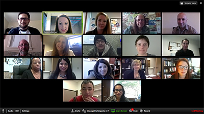 Screen shot of online psychology class participants at Palo Alto University