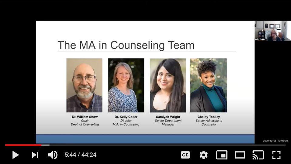 MA in Counseling On-Demand webinar photo