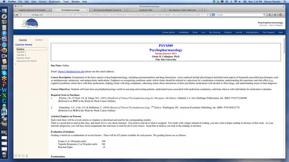 Example online course syllabus description