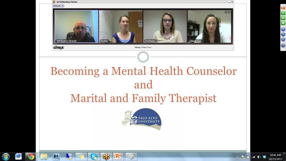 Screenshot of online course in session