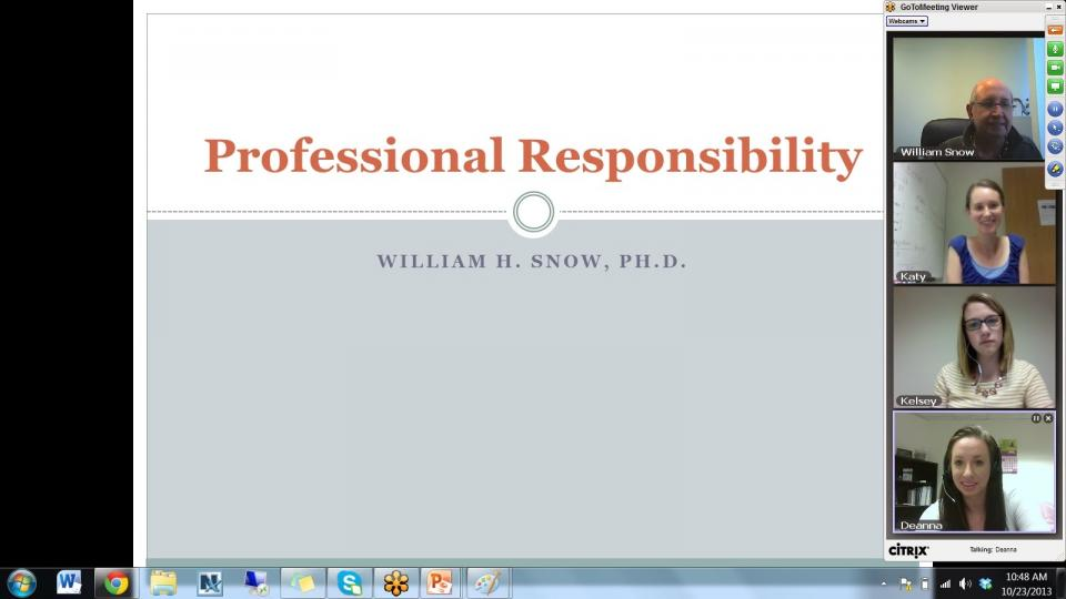 Example of online course in session