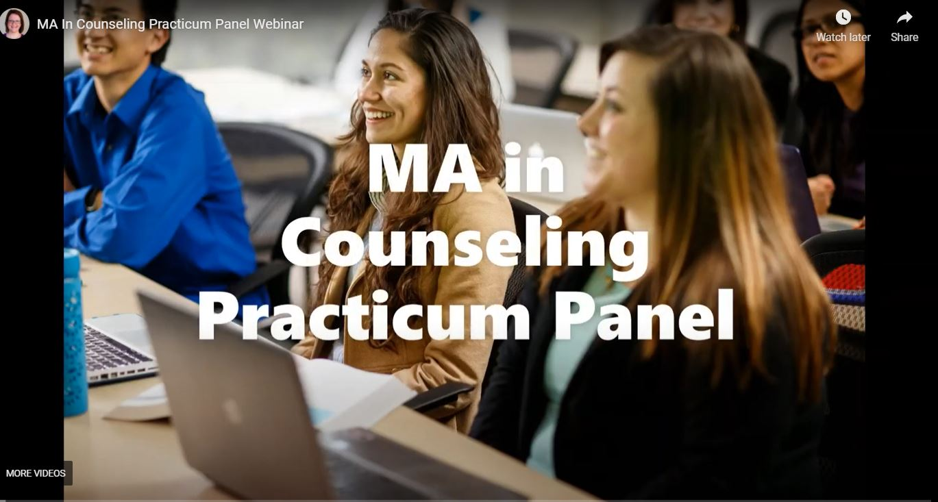 MA In Counseling Practicum Panel Webinar Graphic