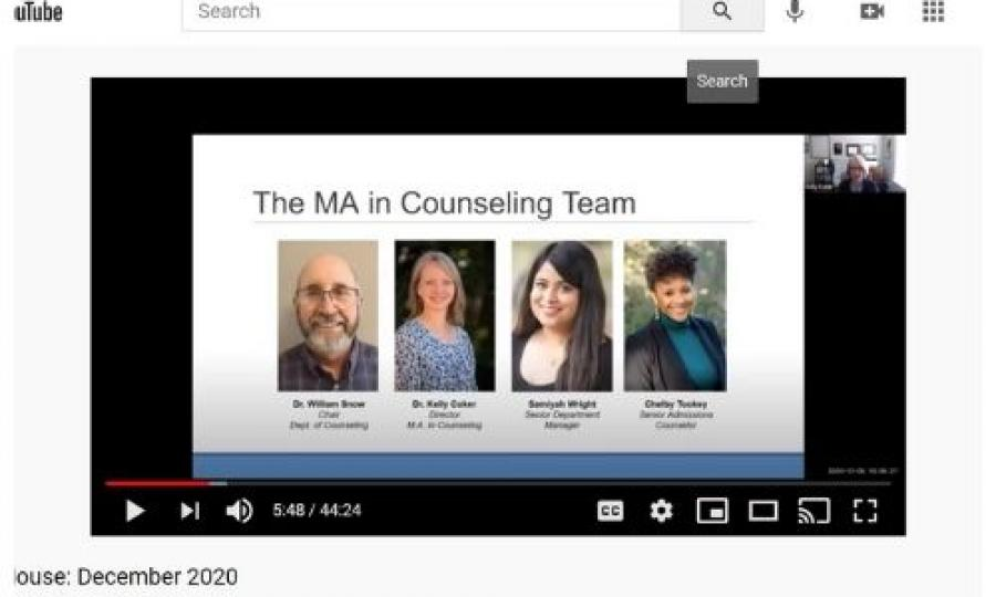 MA Counseling Open House Youtube video