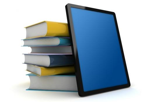 Photo of books and computer tablet.