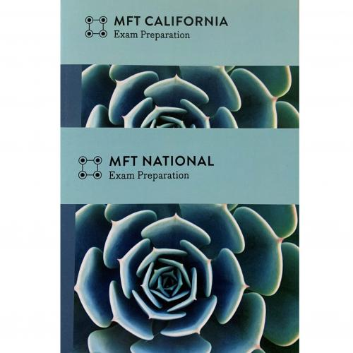 Photo of MFT preparation manuals, California and National.